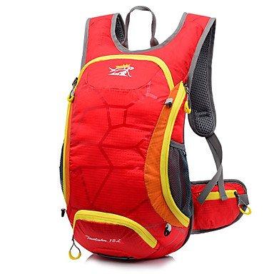 15 L Rucksack Camping & Wandern Reisen tragbar Atmungsaktiv Feuchtigkeitsundurchlässig Red