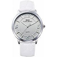 Farsler Retro Casual uomini e donne coppia di orologi al quarzo quadrante grande cinturino in pelle impermeabile uomini orologio da polso (Bianco)