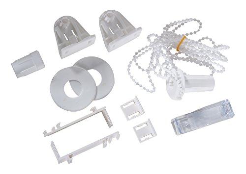 Khome Madrid+Denia.01.SB - Juego de Montaje y Accesorios de Soportes para Estor Doble de plástico, 6,5x 1,5x 3,5cm, Color Blanco
