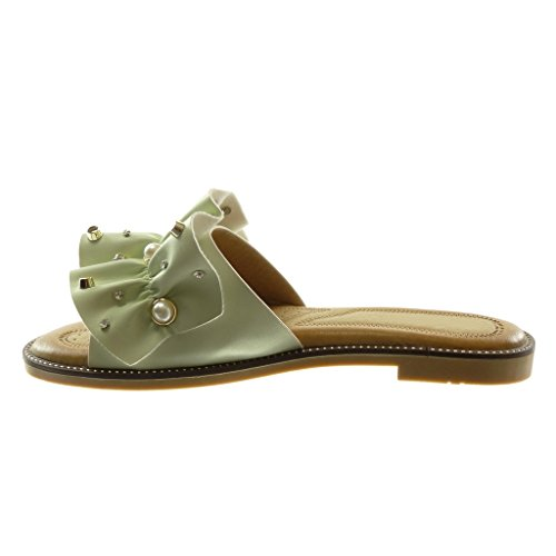 Angkorly Chaussure Mode Sandale Mule Slip-On Femme à Volants Bijoux Perle Talon Bloc 1.5 CM Vert