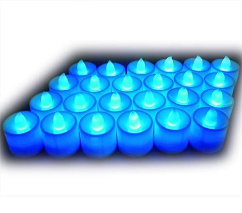 Lot de 24pcs Bougies LED à Piles sans Flamme, Réaliste et Bright, LED Lumières de Thé - Fausses Bougies électriques pour Votive, Table Party Anniversaire Mariage Bleu