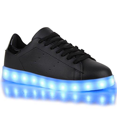 Sofort lieferbar aus DE - Leuchtende und Blinkende Damen Herren Kinder Mädchen Jungen Sneakers High und Low Led Light Farbwechsel Schuhe LED Licht Schwarz Schwarz LEDs