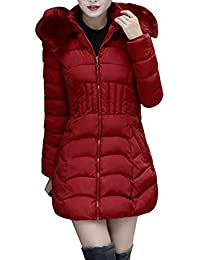 SHOBDW Moda Mujeres de Invierno Chaqueta Larga Abrigo de algodón Caliente Slim Trench Parka Ropa L