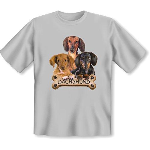 Hunde - Damen und Herren T-Shirt mit dem Motiv: Dachshund biscuit Größe: Farbe: grau - von van Petersen Shirts Grau