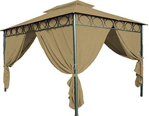 Spetebo Ersatzdach für Pavillon Cape Town 4x3 m - wasserdicht - in 3 Farben - Pavillondach 3x4 m mit PVC Beschichtung (Braun)