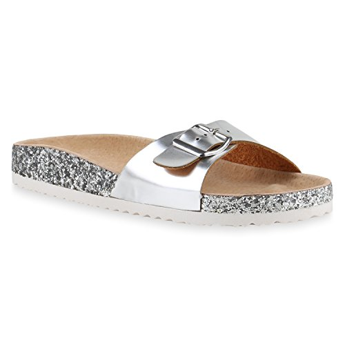 Bequeme Damen Sandalen   Zehentrenner Glitzer Metallic   Komfort-Sandalen Kork   Bequemschuhe   Strandschuhe Schnallen Silber Lack Glitzer
