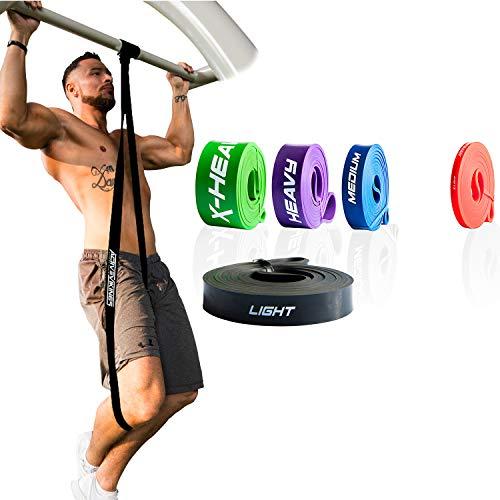 ActiveVikings® Pull-Up Fitnessbänder | Perfekt für Muskelaufbau und Crossfit Freeletics Calisthenics | Fitnessband Klimmzugbänder Widerstandsbänder (2 - Schwarz : Light (Leichter Widerstand)) -