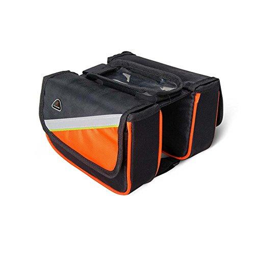ENCOCO Fahrrad Top Tube Bag Wasserdichte Bike Front Tube Lenkertasche Fahrrad Rahmen Tasche mit Touchscreen Handy Fall, Orange -
