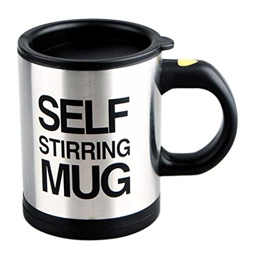 R-WEICHONG Elektrischer Kaffeetasse, elektrisch, Edelstahl, selbstrührend, Kaffeetasse, magnetisiert, Mischbecher, Schwarz