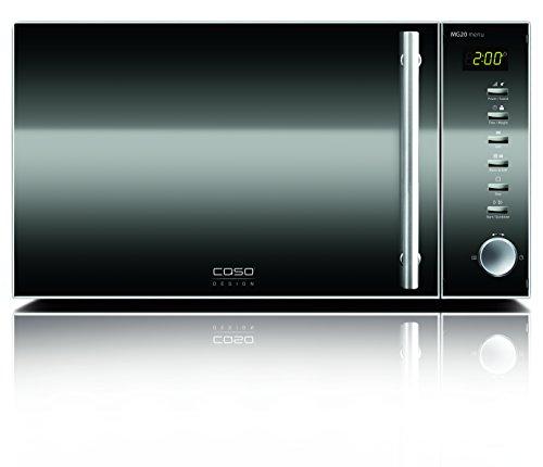 CASO MG20 menu Design Mikrowelle mit Grill 2in1 / Edelstahl / 800 Watt Mikrowelle / 1000 Watt Grill / 2 Kombiprogramme & 14 automatische Kochprogramme / ca. 20 Liter Garraum
