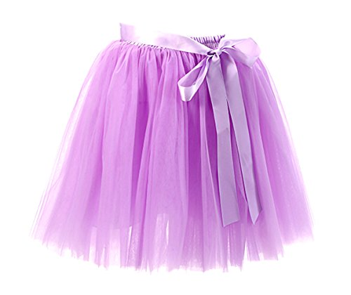 Honeystore Damen's Rock Tutu Tütü Petticoat Tüllrock 7 Schichten mit Gummizug für Karneval, Party und Hochzeit Lavendel One Size (Pyjama Sam Kostüm)