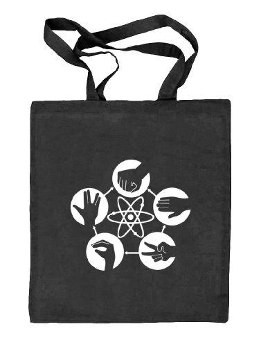 Shirtstreet24, Atom - Stein Schere Papier, Stoffbeutel Jute Tasche (ONE SIZE) schwarz natur