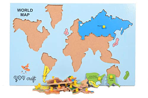 YDV CRAFT Wooden World Map Puzzle with Knob Wall Size Jigsaw Puzzle for Boys, Girls 23 Pieces (4 Age Year)
