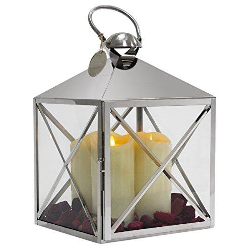Dekovita XXL Edelstahl Laterne 55cm Gartenlaterne inkl 4 Tronje LED Kerzen in Weiss mit beweglicher Flamme inkl Dekoset