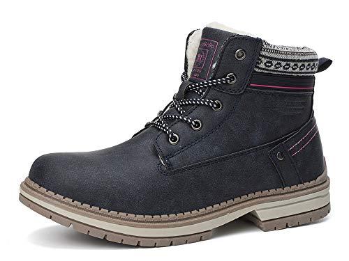ABTOP Botas Mujer Botines Zapatos Invierno Botas de Nieve Cálido Fur Forro Aire Libre Boots Urbano...