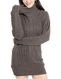 LinyXin Cashmere Damen Winter Kaschmir Langarm Rollkragen Pullover aus  Wolle Kleid Gestrickter Sweater… 9c234a83a7