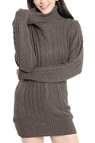 LinyXin Cashmere Damen Winter Kaschmir Langarm Rollkragen Pullover aus Wolle Kleid Gestrickter Sweater Pullover Kleid (XL / 46, Braun)