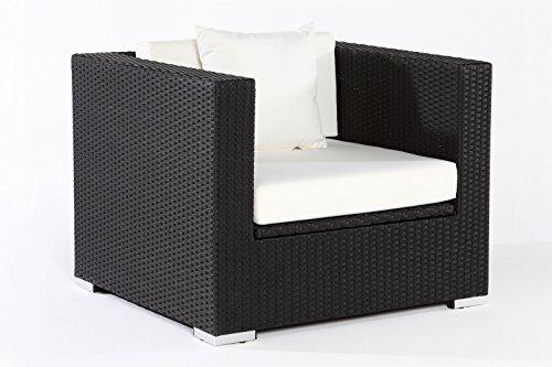 Outflexx Sessel, inklusive Polster und Kissen, Kissenbox funktion, Polyrattan, Schwarz, 145 x 85 x...