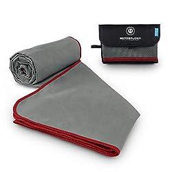 BERGBRUDER Microfaser Handtücher - Ultraleicht, kompakt, schnelltrocknend & antibakteriell | Perfekt als Reisetuch, Sporthandtuch, Badetuch - (Grau-Rot, S 80x40 cm)