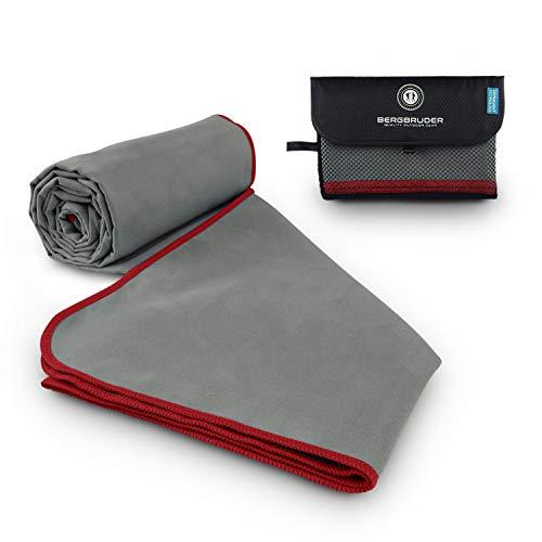 BERGBRUDER Mikrofaser Handtücher Original Reisehandtuch - (Grau-Rot, M 120x60 cm)