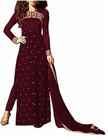 Ruri Enterprise Women's Georgette Semi-stitched Salwar Suit (RE118_MAROON)