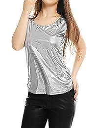 96393e722db3cb Allegra K Women s U Neck Stretchy Slim Fit Metallic Tank Top