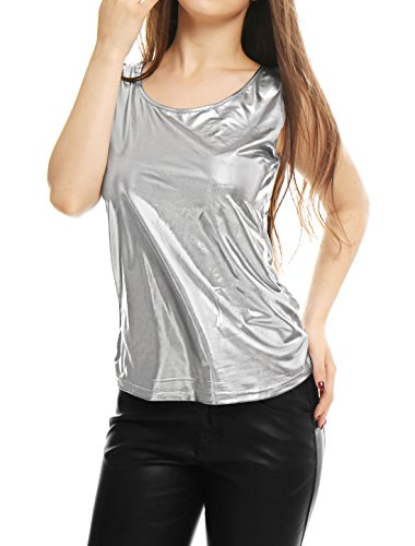 Fit Ärmellos Halloween U Neck Metallic Tank Top Silber XS (EU 34) ()