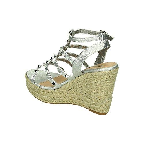 Bequeme Damen Riemchen Slingbacks Keil Sandaletten Pumps Keilabsatz Wedges High Heels Peep Toes L51 Silber