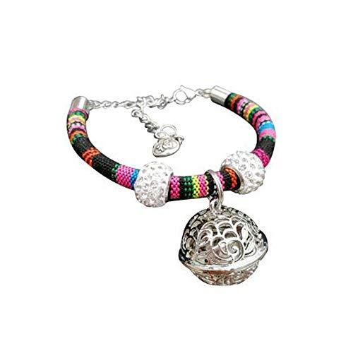 Gaoxingbianlidian Welpen- und Katzenhalsband, gewebtes buntes Halsband - Halsband for Hunde und Katzen, verstellbare Größe mit silbernen Glocken (Color : Pink, Size : S)