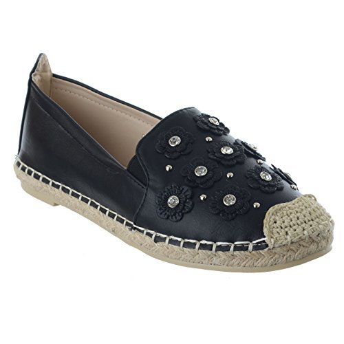 Miss Image Uk Femme Espadrilles Fleur Avec Diamant Slip On Été Casual Décolleté Sandales Chaussures Nombre Ecopelle Nera
