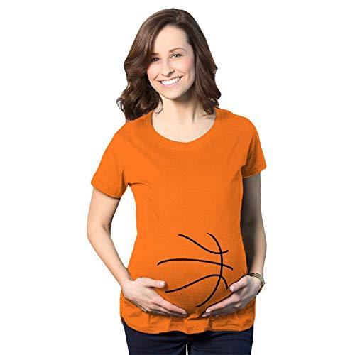Crazy Dog Tshirts - Maternity Basketball Bump Announcement Funny Pregnancy Gift Tee for Ladies (Orange) - XL - Damen - XL -
