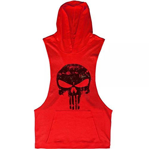 Men Cotton Stringer Fitness Gym Shirt Herren Tank Top Skull Totenkopf T-Shirt mit Kapuze Weste Muscleshirt Print Sport Vest (XXL(empfehlen Bust 115-120 cm), Rot)