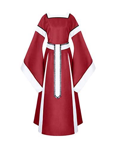 PengGengA Damen Mittelalter Kleider Viktorianischen Königin Kleid Cosplay Kostüm Rot 2XL