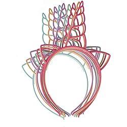 Packung mit 12 Kunststoff-Einhorn-Stirnband für Mädchen Teens Kleinkinder Kinder-Party-Haarbänder (Lichtfarbe)