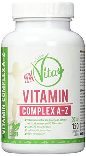 MeinVita Vitamin Complex A-Z - mit Multivitamin + Mineral - hochdosiert - 100{60f631765c84232927e4c5fe290a093c6b91d2b14db258c9a4f57f2c128492a4} vegane Tabletten, 150 Stück (90 g)