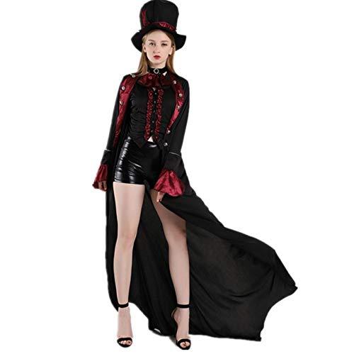 Mädchen Kostüm Magier - ZYJP Damen Halloween Hexe Vampir Dämon Kostüm Mädchen Rock Magier Zauberin Cosplay Karneval Maskenball Party Kleid, Schwarz, M