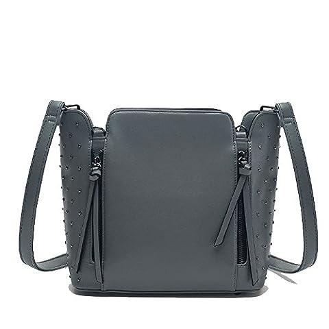 C.CHUANG Classic Retro Rivet Fringed Shoulder Bag Mobile Messenger Bag(Gray)