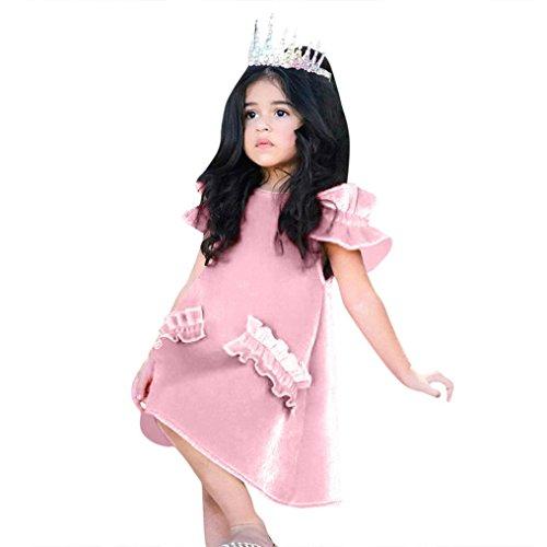 Gold Samt Spitzenkleid Kleinkind Kinder, DoraMe Baby Mädchen Trägerlosen Prinzessin Kleid Solide Rüschen Ärmel Party Kleid 2018 Mode Sommerkleid für 1-5 Jahr (Rosa, 18 Monate) (Samt-bhs)