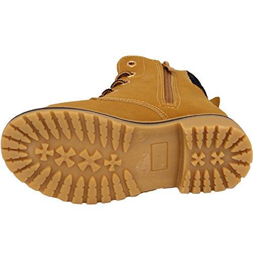 BAMBINI BAMBINE Stivali Desert Boots bambini bordo superiore ALTO CAVIGLIA SCARPE zip con lacci similpelle da trekking Camel - BF27