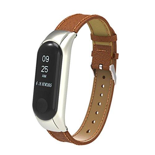 Ouneed- Xiaomi Mi Band 3 Armband, Ersatz Armband Band Bügel + Metallkasten Abdeckung Case Cover Wrist Strap Wristband for Xiaomi Mi Band 3 (Braun) Armband Case Cover