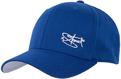 2Stoned Flexfit Cap Wooly Combed Royal Blau mit Stick, Größe S/M (56 cm - 58 cm), Basecap für Damen und Herren -