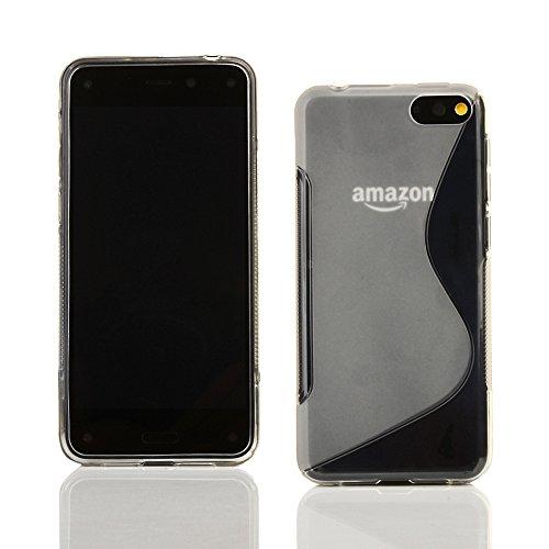Kit Me Out TPU-Gel-Hülle + Displayschutzfolie mit Mikrofaser-Reinigungstuch für Amazon Fire Phone (2014) - Transparent S-Linie Line Wave Tpu Case