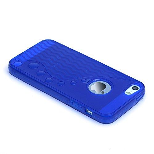 Madcase Coque rigide en silicone pour iPhone 5/5s Film protecteur d'écran inclus Motif à pois Jaune Ondes S Ligne - Bleu