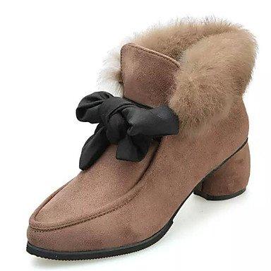 Rtry Zapatos De Mujer Pu Otoño Invierno Comfort Botas De Moda Botas Para Casual Caqui Negro Us6.5-7 / Eu37 / Uk4.5-5 / Cn37