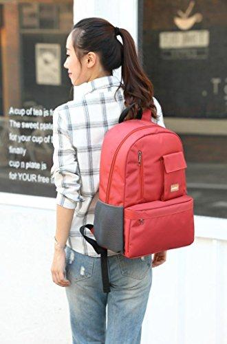 F@Herren-Rucksack 15,6 Zoll Laptop-Tasche und weise beiläufige weibliche Studenten Tasche Orange