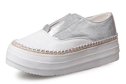 Aisun Damen Rund Bequeme Sportliche Plateau Low Sneakers Silber 39 EU WvQxmvi