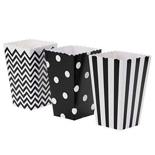 opcorn Boxen Gestreifte Welle Dot Muster Papier Fast Food Huhn Süßigkeiten Behälter für Karneval Party Film Fiesta Geburtstag Party Favors (Schwarz) ()