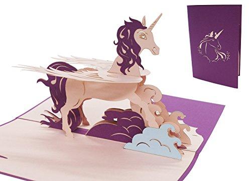 Pop Art Mädchen Kostüm - LIN17527, Pop - Up - Karten Einhorn, POP UP Karten Geburtstag, 3D Grußkarten Geburtstagskarte Mädchen Kinder Unicorn Einhorn, N281