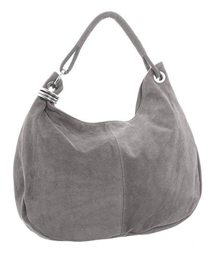 Big Handbag Shop - Borsa a spalla da donna, grande, in vera pelle scamosciata italiana Medium Grey
