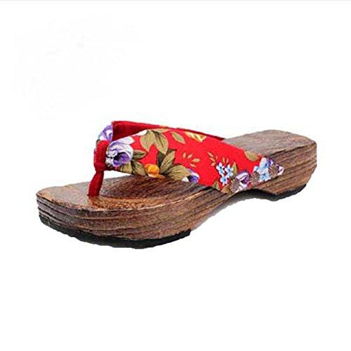 LANSKRLSP Scarpe Flip-Flops, Sandali da Donna con Tacco Alto Stile Giapponese Nastro Floreale Infradito Boemia Spiaggia Sandali Wedge Piattaforma Infradito Pantofole